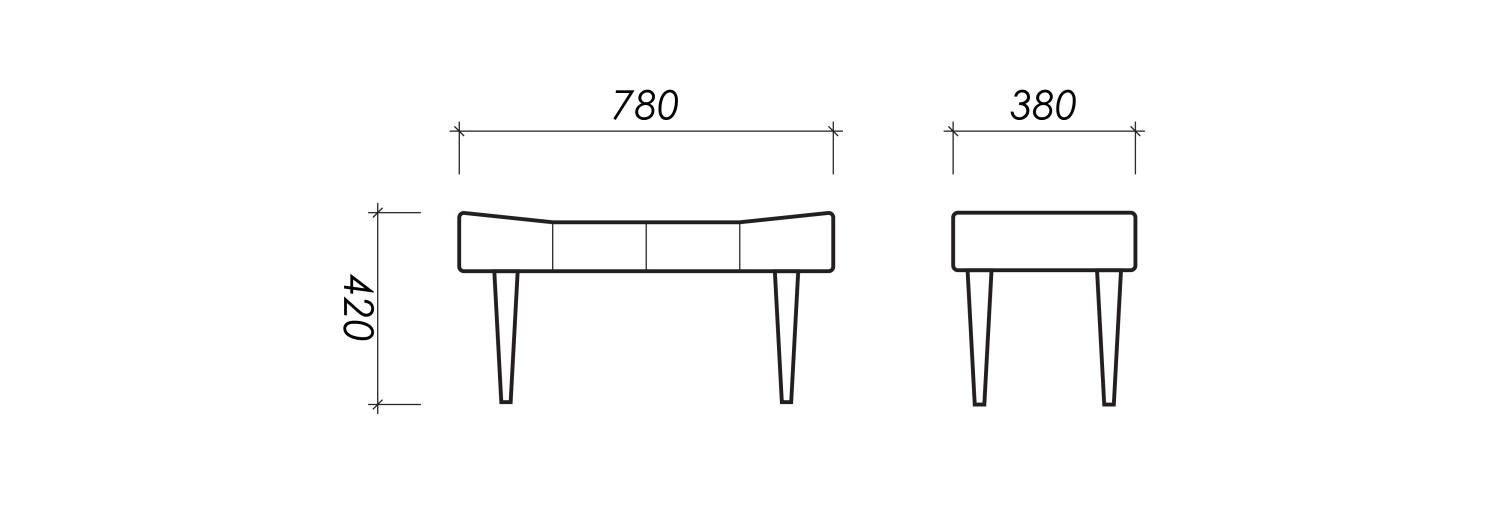 Dimensions of Oot-Oot Studio furniture product stool.