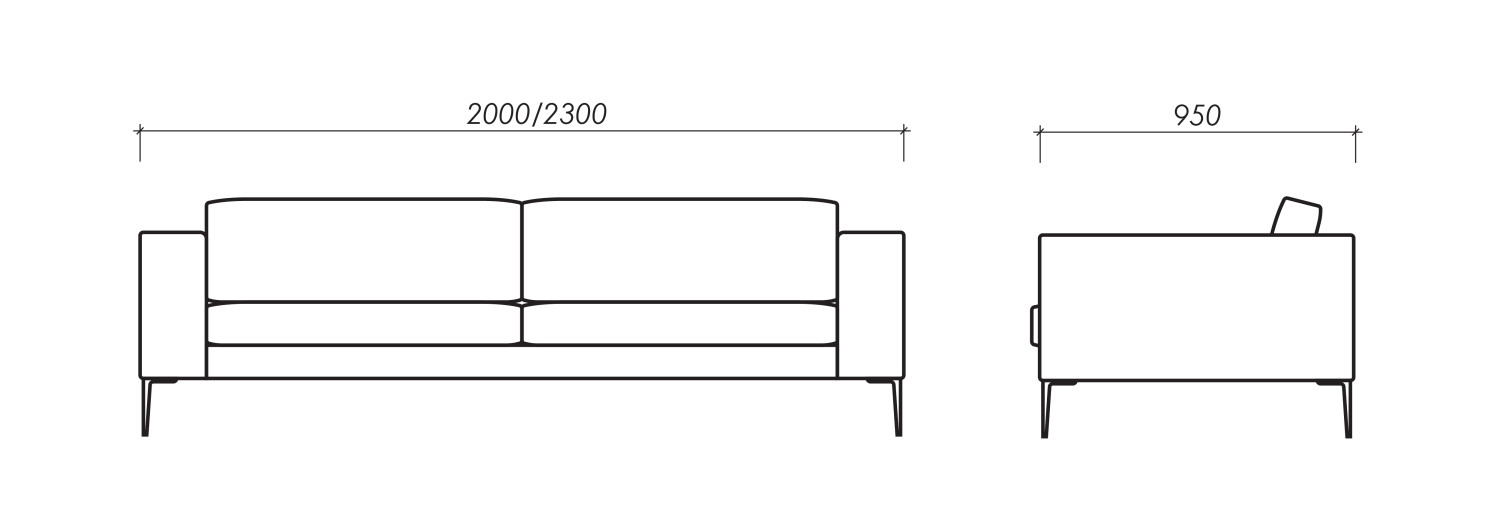 Dimensions of Oot-Oot Studio furniture product Frend sofa