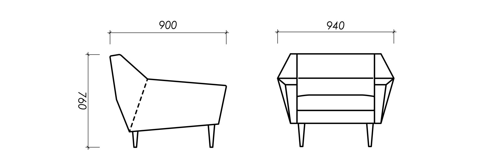 Dimensions of Oot-Oot Studio furniture product Cosmo armchair