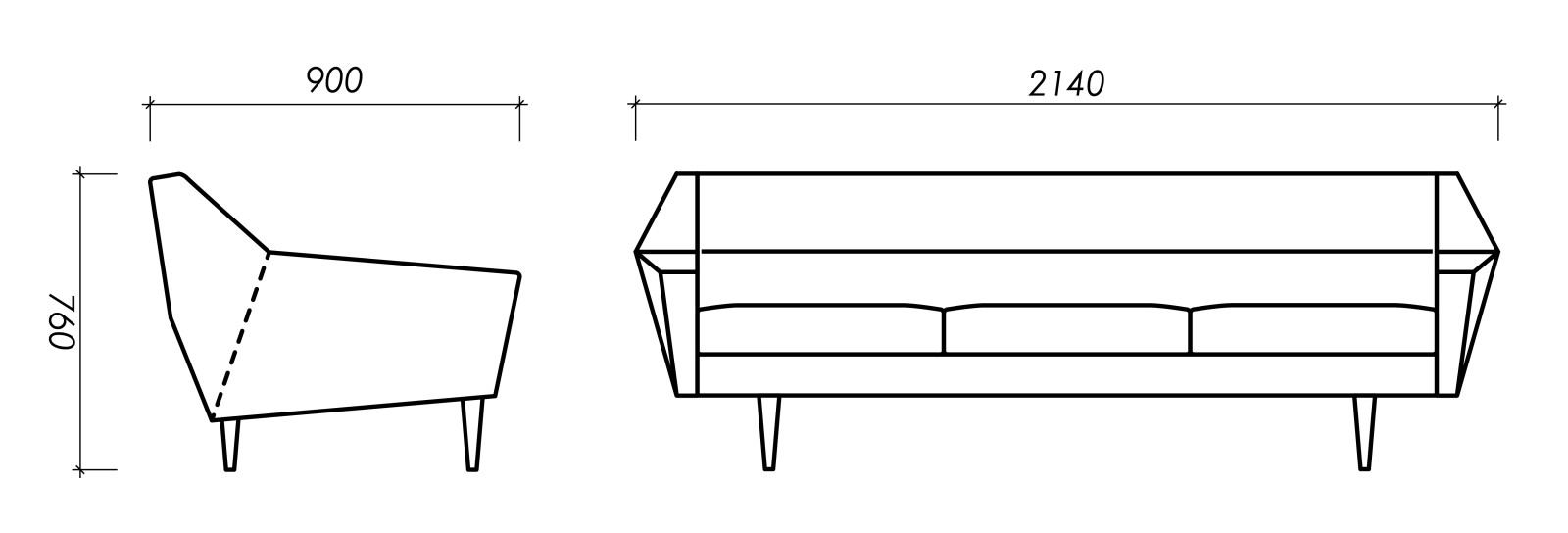 Dimensions of Oot-Oot Studio furniture product Cosmo sofa